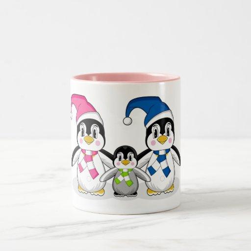 Taza de café de la familia del pingüino