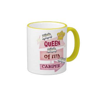 Taza de café de la forma de vida del campista/rv