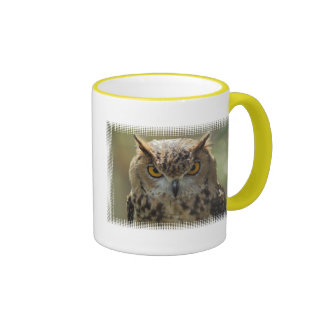 Taza de café de la foto del búho