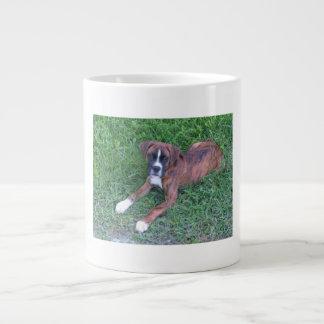 Taza de café de la foto del perrito del boxeador taza grande