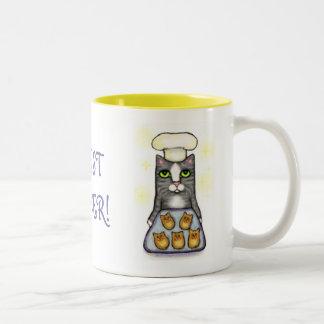 Taza de café de la hornada del gato del cocinero