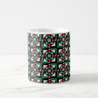 Taza de café de la ilusión óptica en verdes y