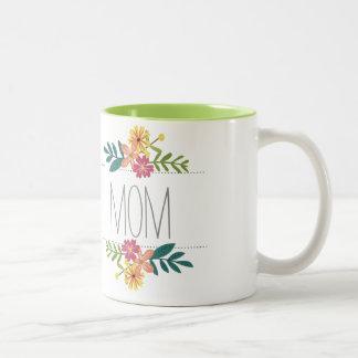 Taza de café de la mamá con las flores