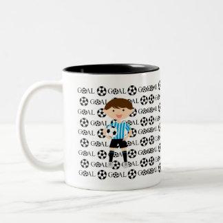Taza de café de la meta 1 del muchacho del fútbol