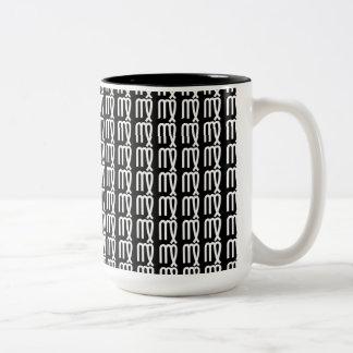 Taza de café de la muestra B&W del zodiaco del