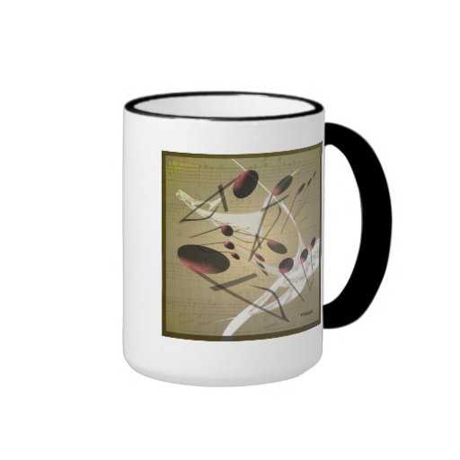 Taza de café de la música que cae