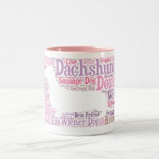 Taza de café de la nube de la palabra de Doxie del