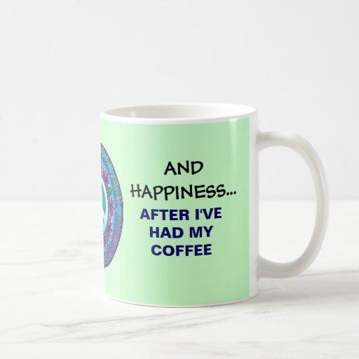 Taza de café de la paz y de la felicidad del amor