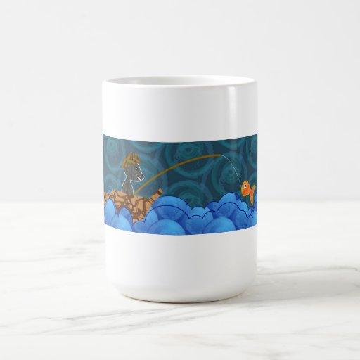 Taza de café de la pesca del gato