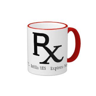 Taza de café de la prescripción de Rx