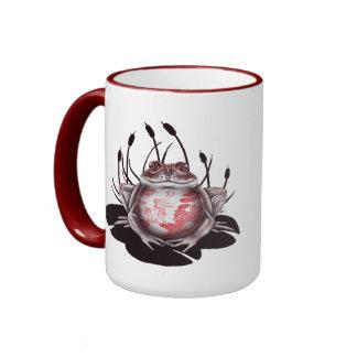 Taza de café de la rana de Bull del sauce rojo