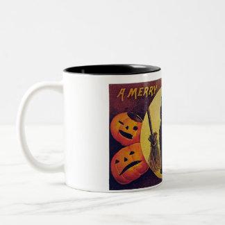 Taza de café de la tarjeta de Halloween del vintag