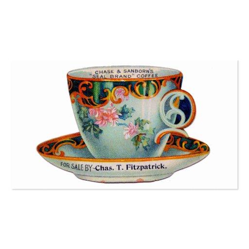 Taza de café de la taza de café del vintage tarjetas de negocios