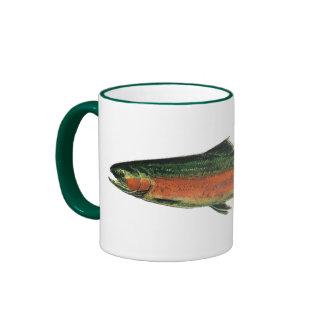 Taza de café de la trucha de trucha arco iris