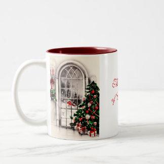 Taza de café de la ventana del navidad
