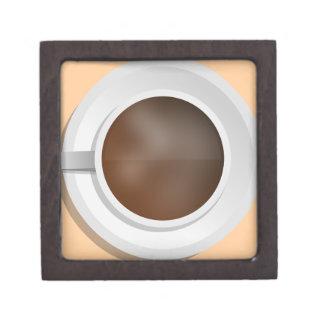 Taza de café de la visión aérea cajas de joyas de calidad
