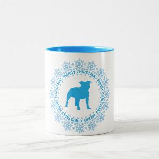 Taza de café de las Felices Navidad de Terrier de