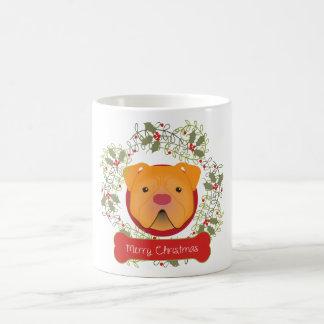 Taza de café de las Felices Navidad del pitbull