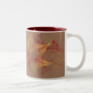 Taza de café de las hojas de otoño