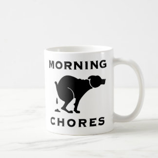 Taza de café de las tareas de la mañana