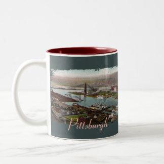 Taza de café de los 1800s de Pittsburgh del vintag