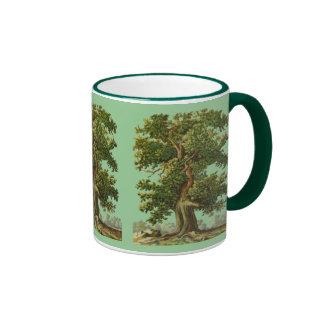 Taza de café de los árboles de Oake del vintage