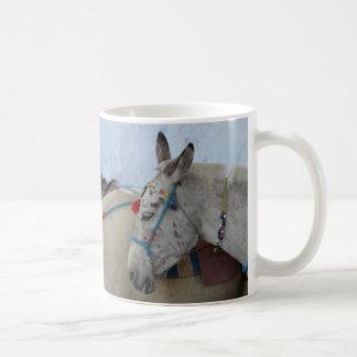Taza de café de los burros de Santorini
