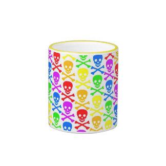 """""""Taza de café de los cráneos del arco iris"""" Taza De Dos Colores"""