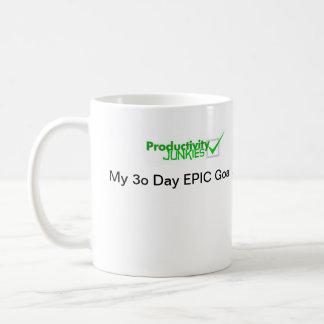 Taza de café de los drogadictos de la productivida
