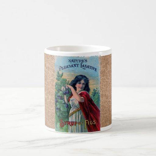 Taza de café de los higos de la etiqueta del