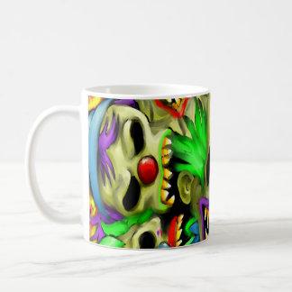 Taza de café de los payasos del cráneo del