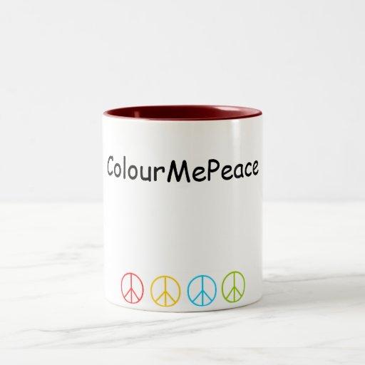Taza de café de los signos de la paz