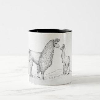 Taza de café de mamá Llama y de Cria