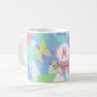 Taza de café de mariposas Monogram Name & Initial