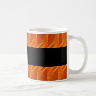Taza de café de oro abstracta del fuego de los art