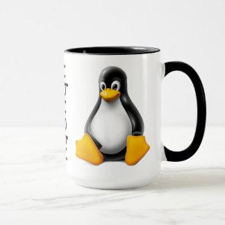 Taza de café de Ubuntu con el logotipo y Tux