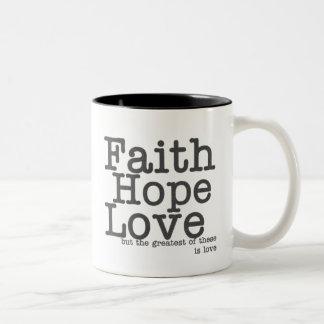 Taza de café del amor de la esperanza de la fe