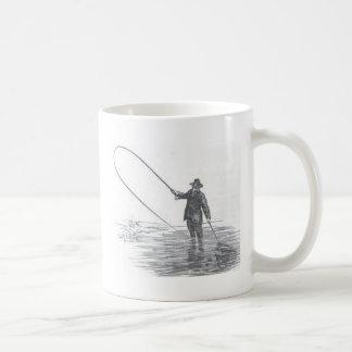 Taza de café del arte de la pesca con mosca del vi