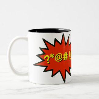 Taza de café del arte pop que maldice