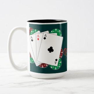 Taza de café del as del póker