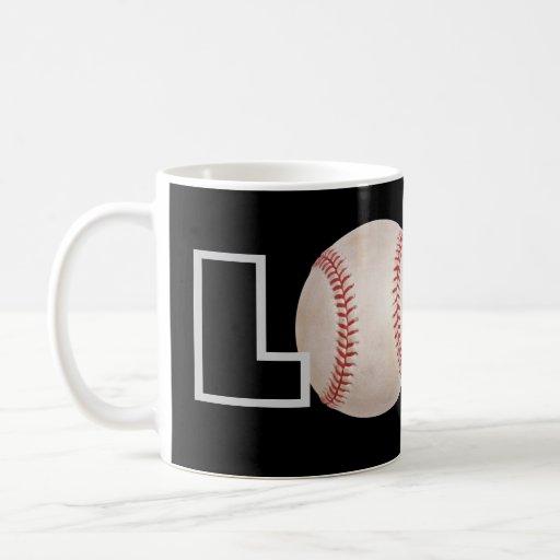 Taza de café del béisbol del amor