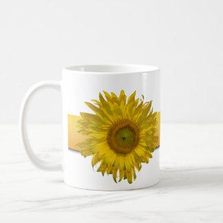 Taza de café del boda de la raya del girasol
