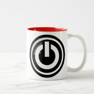 Taza de café del botón de encendido