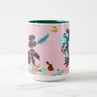 Taza de café del caniche del vintage