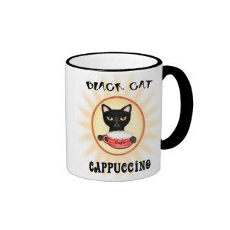 Taza de café del Cappuccino del gato negro