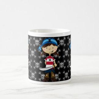 Taza de café del chica del equipo del pirata