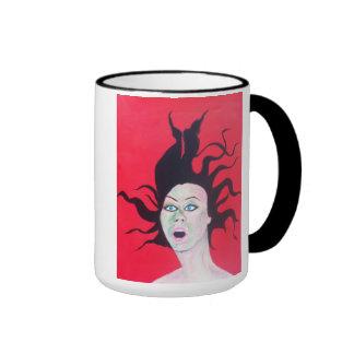 Taza de café del chica del estilo del arte pop