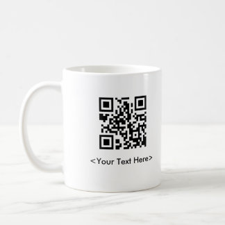Taza de café del código de QR con el texto