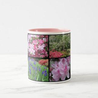 Taza de café del collage de la primavera