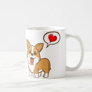 Taza de café del corazón del Corgi del el día de